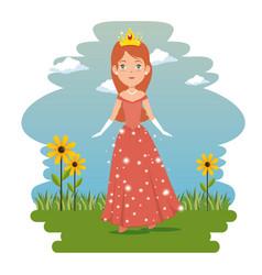 Fantastic character fairytale princess vector