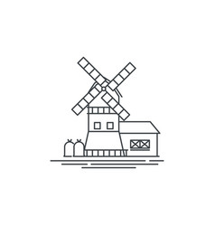 Farm windmill line icon outline of vector