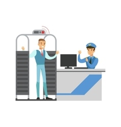 Full body scan in security check part of airport vector