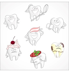Funny dental set vector