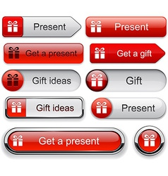 Gift high-detailed modern buttons vector