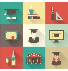 graduation icons vector image vector image