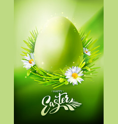 Green easter egg hunt poster vector
