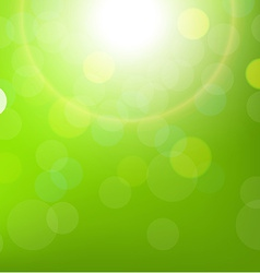 Green sun background with bokeh vector