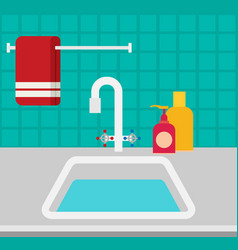 Kitchen sink flat vector