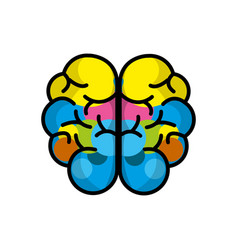 Mental health brain art line icon vector