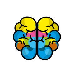 Mental health brain art line icon vector