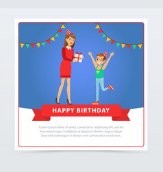 Mother giving a gift to her son kids birthday vector