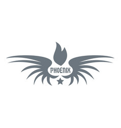 phenix wing logo simple gray style vector image