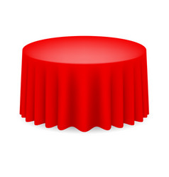 Red dining table with tablecloth on white vector