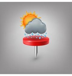 Red pin icon weather cloud sun rain vector