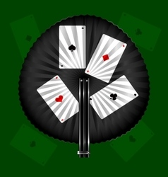round fan and cards vector image vector image