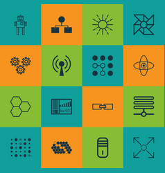 Set of 16 robotics icons includes hive pattern vector