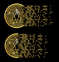 Set of crypto currency eos golden symbols vector