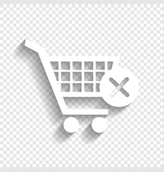 Shopping cart with delete sign white icon vector