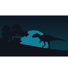 Silhouette of mapusaurus on hill at night vector