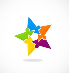Star puzzle people diversity logo vector