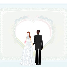 wedding invitation card with a wedding couple vector image vector image