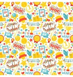 Winner seamless pattern with gold cup vector