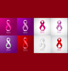 Womens day greeting card templates march 8 vector