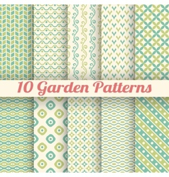 10 green garden seamless patterns abstract texture vector