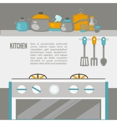 Kitchen interior pans on the stove cooking vector