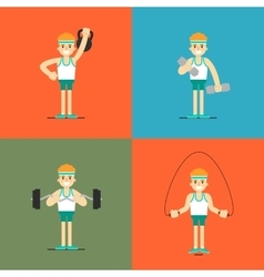 Athletic man doing exercise set vector