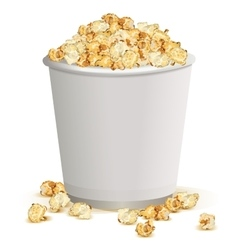 White paper cup full of popcorn vector