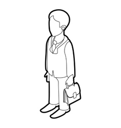 Businessman holding briefcase icon outline style vector
