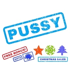 Pussy rubber stamp vector