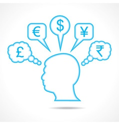 Man thinking about currency vector