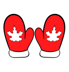 Red mittens with a maple leaf icon cartoon vector