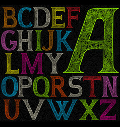 psychedelic acid color alphabet vector image