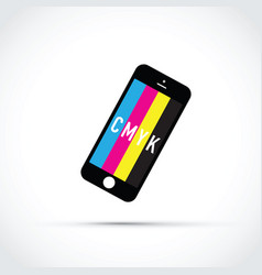 Cmyk mobile phone colour selector vector