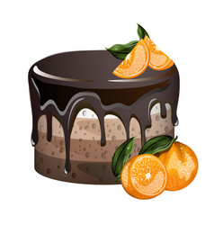 Yummy layered cake with oranges vector