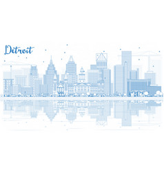 Outline detroit skyline with blue buildings and vector