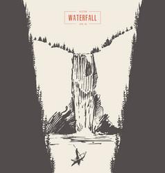 Vintage of beautiful waterfall drawn vector