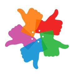 Colorful circle thumb up icons vector