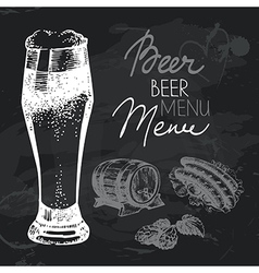 Oktoberfest beer hand drawn chalkboard design set vector image