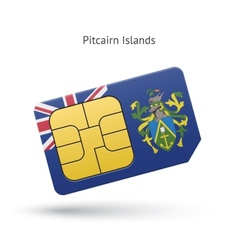 Pitcairn islands mobile phone sim card with flag vector