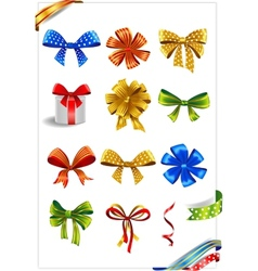 Set of gift bows with ribbons vector