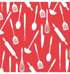 Kitchen utensils on red card vector