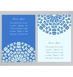 Blue and white flyer design with round pattern vector