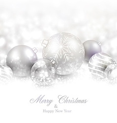 Winter background with silver christmas balls vector