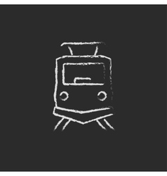 Front view of train icon drawn in chalk vector