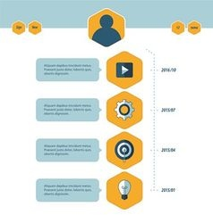 Timeline template blue and yellow style vector