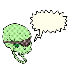 Cartoon spooky skull with eye patch with speech vector