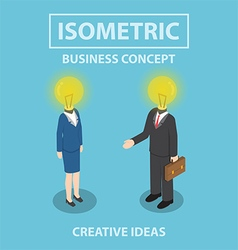 Isometric businessman and businesswoman with light vector