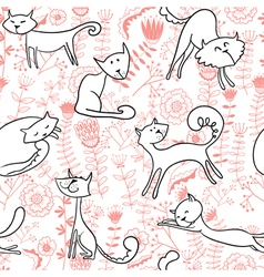 cats and florals seamless vector image