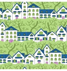 Seamless pattern of white houses and green trees vector
